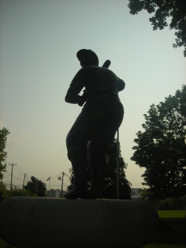 Statue of Jackie Robinson who lived in Stamford.